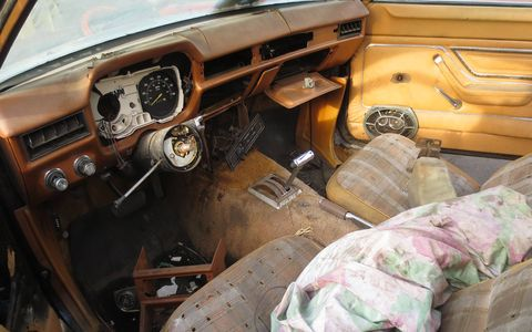 The interior is very rough, but you can still see hints of its former tan-and-brown vinylicious glory.