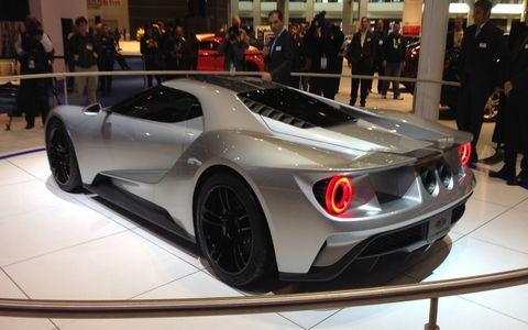 The Ford GT was revealed at the Detroit Auto Show.