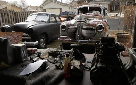 A great deal of vehicle juggling later, the '41 was in the driveway next to Rich's '49 Ford sedan project.