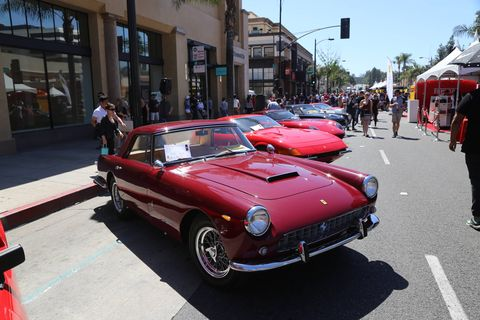 Something like 140 or 150 Ferraris parked on three blocks of Colorado Blvd. in Old Town Pasadena Sunday, and for that one day, everyone in that Southern California town was tifosi.
