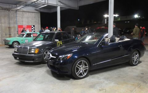A proud moment for Mercedes-Benz race fans: the e400 with the Team Dickbutt E500 and the Idle Clatter Racing 300SD.