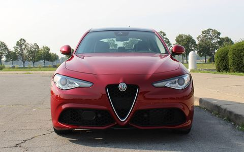 The 2017 Alfa Romeo Giulia Ti is powered by a 2.0-liter I4 producing 280 hp, shooting the sports sedan to 60 in 5.1 seconds.