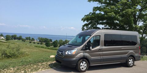 The Ford Transit, even with the medium roof (as opposed to high-roof) is still an imposing van, but it's very manageable on the road and in parking lots.
