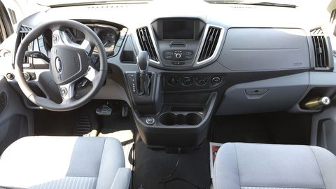 The Transit dash will be familiar to Ford owners; our tester featured Sync 3 with navigation