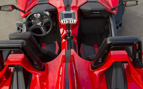 """The 2015 Polaris Slingshot SL operates more like a car than a motorcycle, making it perhaps the purest little production """"sports car"""" available."""