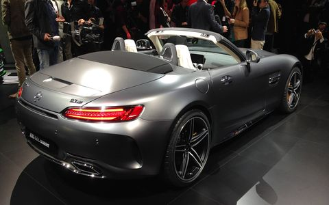 The 2018 Mercedes-AMG GT C Roadster debuted in the metal on the eve of the Paris auto show.