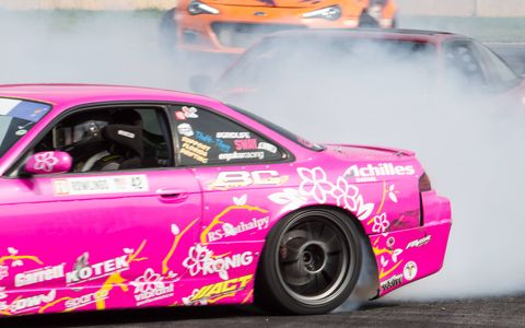 Professional and amateur drifters duke it out on the same track during Gridlife South.