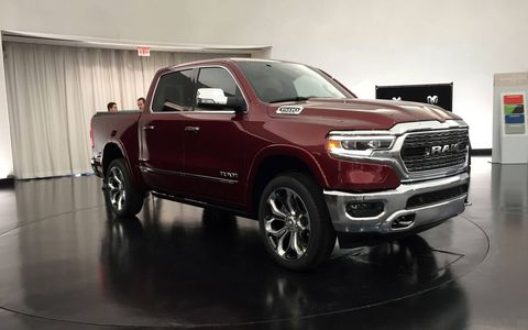 The 5.7-liter Hemi makes 395 hp and 410 lb-ft of twist, but Ram says it can get a 130 lb-ft boost with the eTorque motor. Both engines come standard with an upgraded eight-speed automatic transmission that has more than 40 shift maps.