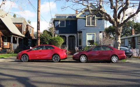 As is the case with most cars, the Corolla has grown substantially in the last 15 years. Here it is next to a 2002 Camry, which has about the same exterior dimensions.