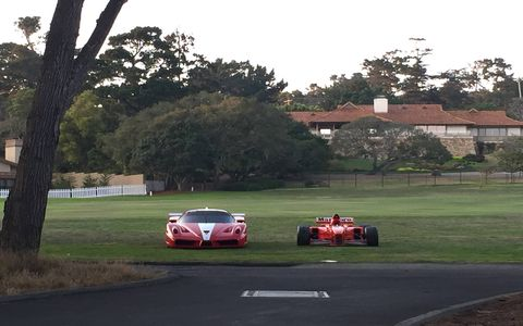 Sure, Ferrari announced that it would bring 70 cars from six decades and line them up on the first fairway at Pebble Beach, but we didn't fully believe it until 4:00 the Saturday before the Concours, when they all roared onto the grass.