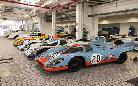 Porsche has something like 575 classic and historically significant cars. It can't show them all in the public museum in Stuttgart, so it stores them here, in a secret location not open to the public. We got in!