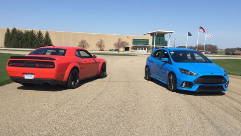 We took the 2018 Dodge Challenger Hellcat Widebody and 2017 Ford Focus RS down to Tire Rack's proving grounds in South Bend, Indiana.