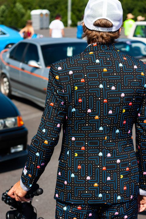 A Pacman suit is bold, but not out of place at Radwood's Gridlife South showing at Road Atlanta. Radwood encourages everyone who grew up loving the 80s and 90s to celebrate that zany era through clothing, music, and cars. (Brooks Metzler 2018)
