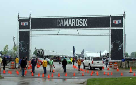 Rain didn't stop the Camarorati at Detroit's Belle Isle on May 16. They came out in force for the reveal of Generation Six, enjoying hot laps, test drives and Camaros of all eras.