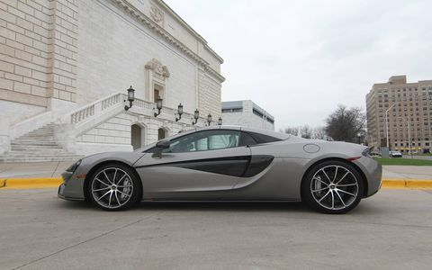 The 2018 McLaren 570S Spider weighs 101 pounds more than the coupe, sporting a 3.8-liter twin-turbocharged V8 laying down 562 hp @ 7,500 rpm and 443 lb-ft @ 5,000-6,500 rpm.