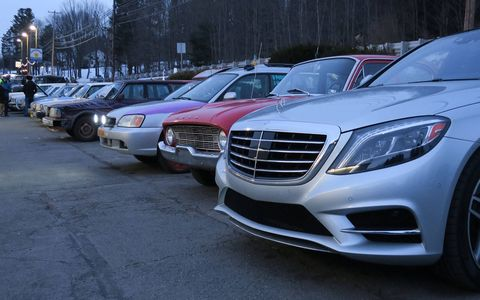 During the car inspections in Moscow, Pennsylvania, the S550 contrasted nicely with the other rally vehicles.
