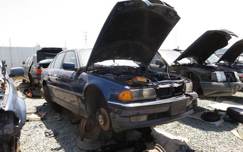 1997 BMW 740iL in California wrecking yard. MSRP: $64,800 ($96,599 in 2016 dollars)