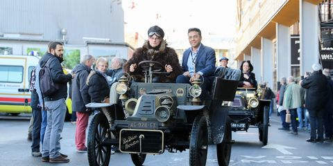 De Dion Bouton was one of the most influential carmakers at the dawn of the auto industry. Fans of the marque paraded their cars at Retromobile this year, to the delight of the crowd. Here they are driving into the show in Paris last week.