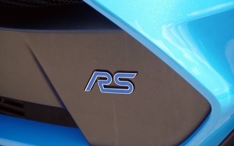 The 2016 Ford Focus RS sports various Ford Performance upgrades like a short-throw shifter, a cat-back exhaust and even more RS badging.