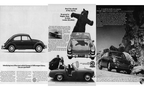 The import ads are all black-and-white. Will it be a Beetle, the Beetle's Porsche cousins, or the ready-for-SCCA-Class-G Austin-Healey Sprite?