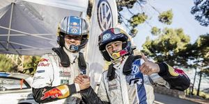 Sebastian Ogier (left) and Brazilian soccer player Neymar, took a wild ride in a World Rally Championship car recently.
