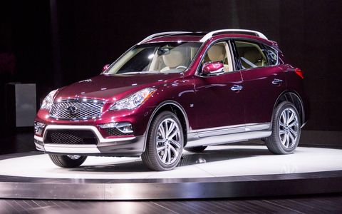 The refreshed 2016 Infiniti QX50 made its debut at the New York auto show.