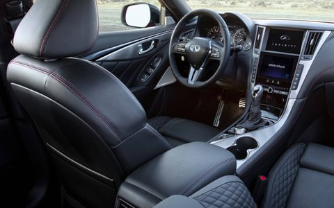 A new steering wheel, shift lever and lots of red stitching makeup the interior changes on the 2018 Q50 Red Sport 400.