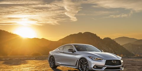 The 2017 Infiniti Q60 3.0T has a twin-turbo V6 producing 300 hp and 295 lb-ft of torque.