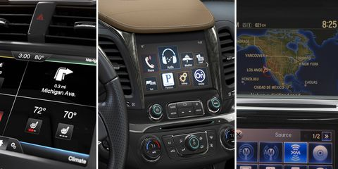 Some infotainment systems, yesterday. From left to right: Ford's SYNC, GM's MyLink, Honda's HondaLink.