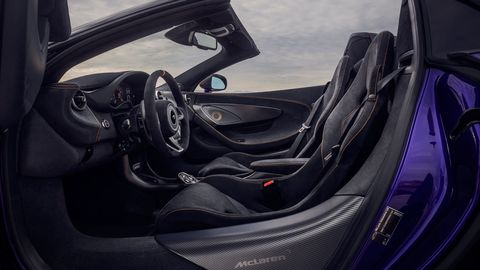 The McLaren 600LT Spider has a two-piece hardtop that opens in 15 seconds, and miles of suede everywhere else.