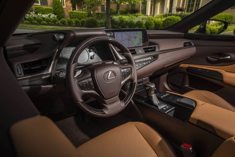 The 2019 Lexus ES comes with a range of interior options including several options of wood and brushed metal.