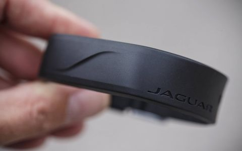 This water-resistant wristband can serve as your key, allowing you to leave the fob in the F-Pace when you're engaged in all those active lifestyle things.