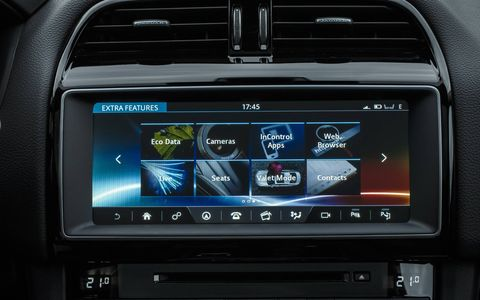 The new InControl Touch Pro infotainment interface and other technologies found on the 2017 Jaguar F-Pace SUV.