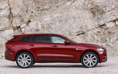 The 2017 Jaguar F-Pace will be offered with a 2-liter turbodiesel I-4 in all models up to and including R-Sport (shown).