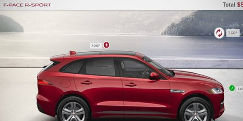 The F-Pace doesn't actually arrive for a while, but you can configure yours today and compare it to the, ahem, Range Rover Evoque.
