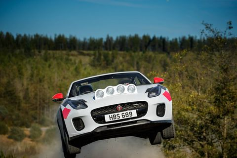 """The one-off Jaguar F-Type rally cars also pay homage to the legendary Jaguar XK120 registered """"NUB 120,"""" which, in the early 1950s in the hands of Ian Appleyard, completed three consecutive Alpine Rallies without incurring a single penalty point and won the RAC and Tulip."""