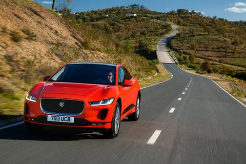 The 2019 Jaguar I-Pace is the marque's first electric vehicle. It packs 394 hp and 512 lb-ft of torque courtesy of a pair of motors at its front and rear; in between is a battery that offers a range of 240 miles.