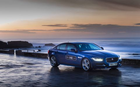 This is the Jaguar XE, Britain's answer to the all-conquering BMW 3-series, Audi A4 and Mercedes C-class.