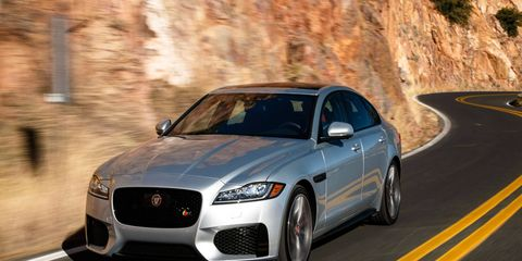 The Jaguar XF S gets a 380-hp supercharged V6 and an eight-speed transmission.