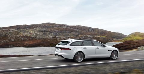 The 2018 Jaguar XF Sportbrake comes standard with a 380-hp supercharged V6 mated to an eight-speed automatic transmission.