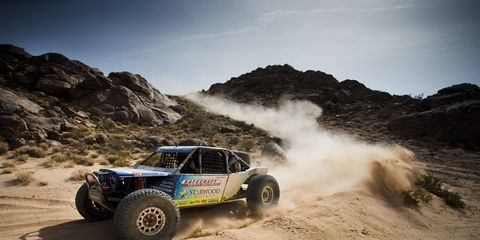All the events all this week have led up to the grand finale, the 202-mile-long King of the Hammers, the roughest, toughest, one-day desert race and rock stomp the world has ever seen. KOH Combines slow-speed rock crawling with high-speed off-road racing to make a unique and increasingly popular event. Jason Scherer won it this year in just over seven hours. Here is winner Jason Scherer.