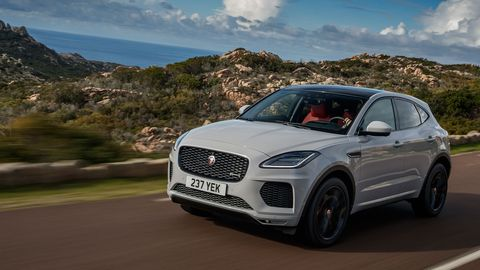 The 2018 Jaguar E-Pace comes with turbocharged 2.0-liter making 246 hp.