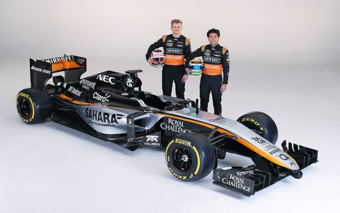The Force India Formula One team unveiled its 2015 livery on an old Force India car in Mexico City on Wednesday. The 2015 car will be unveiled in Barcelona in February.