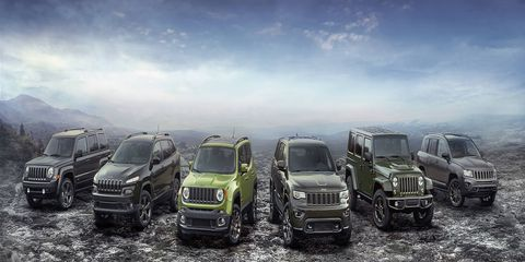 Jeep introduced six anniversary edition vehicles before the Detroit auto show; all go on sale in the first quarter of 2016.