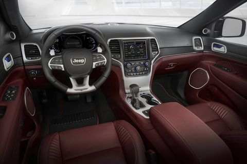 The 2018 Jeep Grand Cherokee Trackhawk shares the majority of its interior with its fellow Grand Cherokee stablemates, which isn't a bad thing but it's not quite as nice as other high-end SUVs.