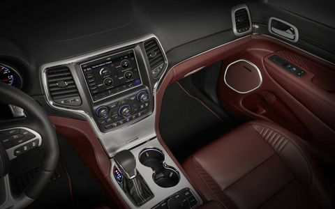 The Trackhawk comes with a 7-inch instrument cluster with centered tachometer and 200-mph speedometer and an 8.4-inch touchscreen with Trackhawk Performance Pages.