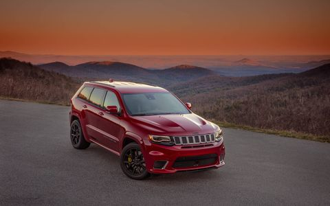 The 2018 Jeep Grand Cherokee Trackhawk makes 707-­hp and 645 lb-ft of torque, good for a 0-60 time of 3.5 seconds, a quarter mile time of 11.6 seconds and a top speed of 180 mph.