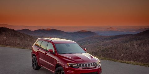 The Jeep Grand Cherokee Trackhawk sends 707 hp through a four-wheel-drive system and can rocket to 60 in 3.5 seconds.