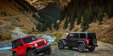 Offering new engine options, including a 2.0-liter turbocharged inline-four and an upcoming diesel, and sporting a redesigned body formed from lightweight materials, the 2018 Jeep Wrangler JL promises more off-road capability (and on-road comfort) than anything that came before it. The red two-door shown here is a Rubicon; the four-door Unlimited is a Sahara.