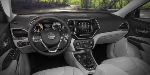The 2019 Jeep Cherokee gets a new center console and some updated ergonomics at the Detroit auto show.